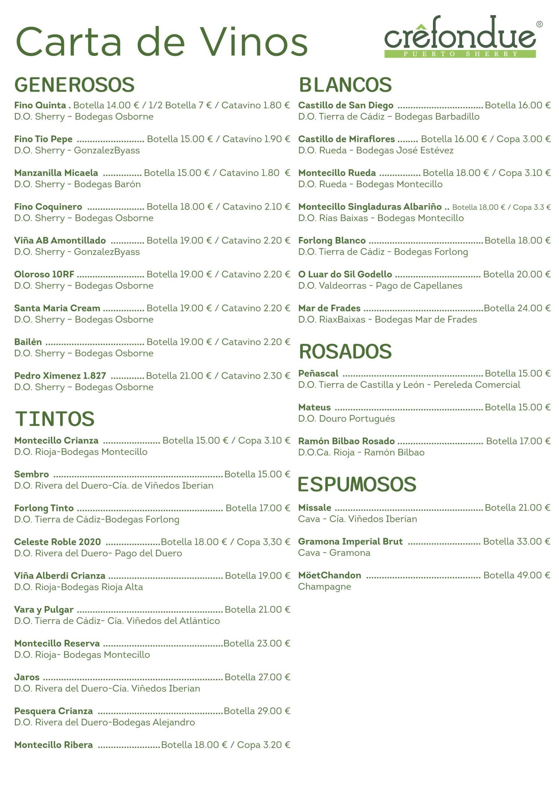 Crefondue Puerto Sherry   Carta de Vinos